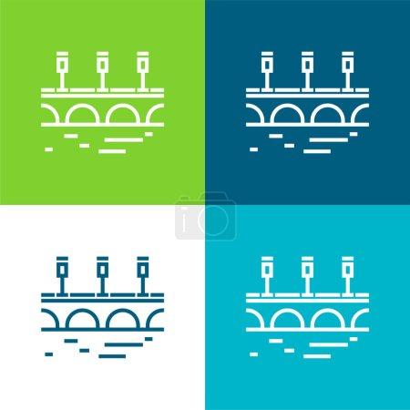 Photo pour Pont plat quatre couleurs minimum jeu d'icônes - image libre de droit