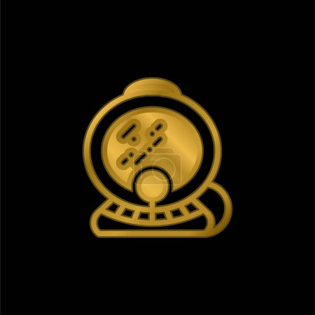 Aqualung gold plated metalic icon or logo vector
