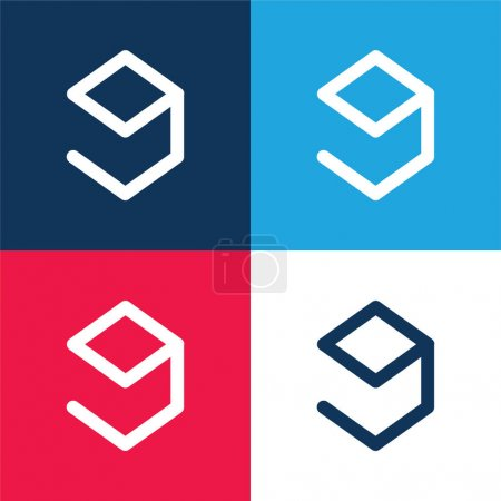 9gag Logo blue and red four color minimal icon set