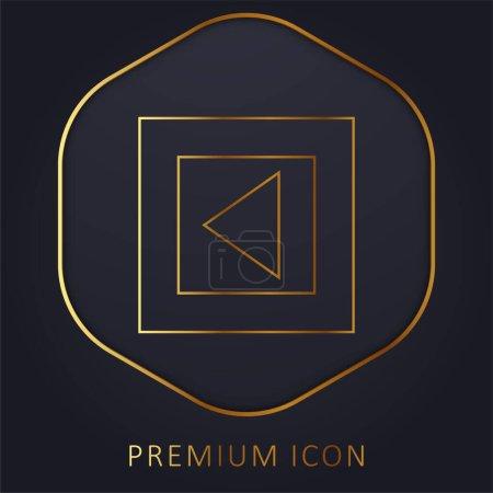Back Arrow Triangle In Gross Square Button golden line premium logo or icon