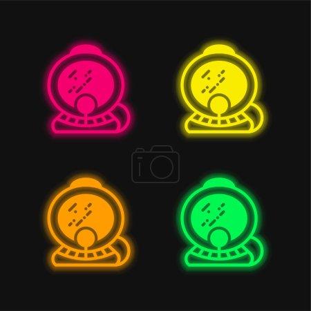 Aqualung four color glowing neon vector icon