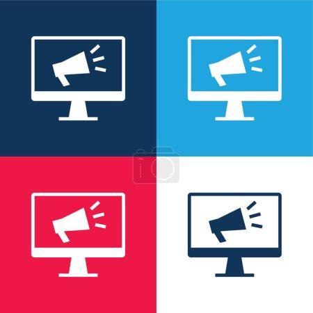 Illustration pour Ensemble d'icônes minimales quatre couleurs bleu et rouge - image libre de droit