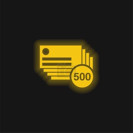 Illustration pour 500 Cartes de visite Copies jaune brillant icône néon - image libre de droit