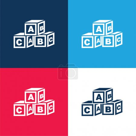 ABC Cubes blue and red four color minimal icon set
