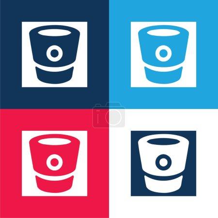 Illustration pour Bitbucket Logo bleu et rouge quatre couleurs minimum jeu d'icônes - image libre de droit