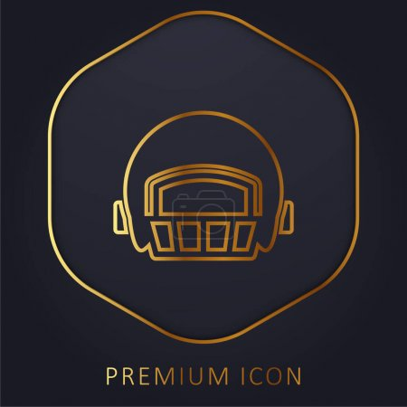 Illustration pour Casque de joueur de football américain ligne d'or logo premium ou icône - image libre de droit