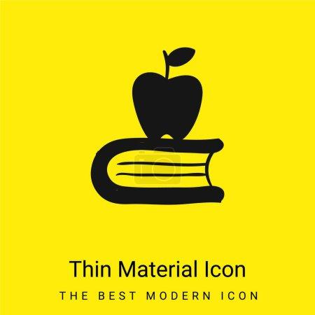 Illustration pour Apple On A Book icône minimale de matériau jaune vif - image libre de droit