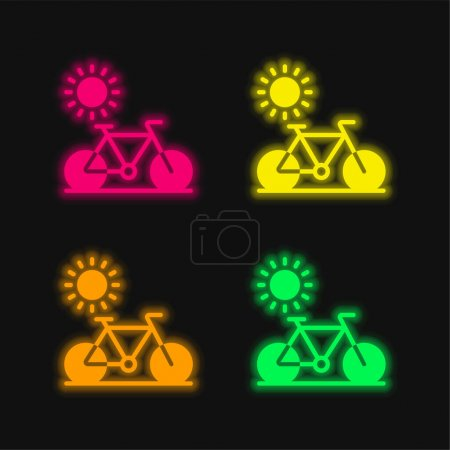 Illustration pour Vélo quatre couleurs brillant icône vectorielle néon - image libre de droit