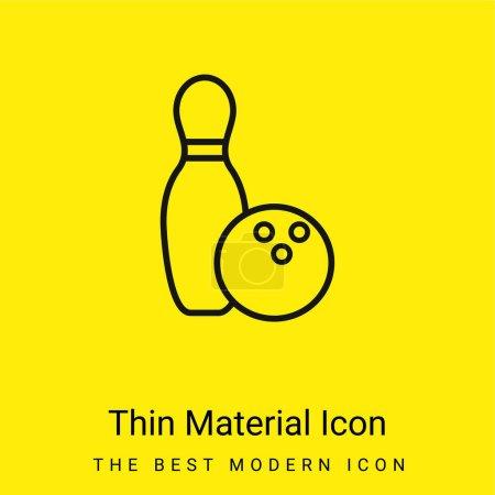 Photo pour Bowling Bowl et Ball Outline icône matérielle jaune vif minimale - image libre de droit