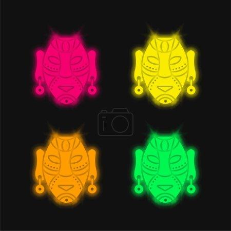 Illustration pour Masque africain quatre couleurs brillant icône vectorielle néon - image libre de droit
