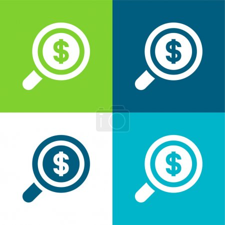 Illustration pour Analytics Set d'icônes minimal plat quatre couleurs - image libre de droit