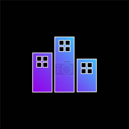 Illustration for Apartments Buildings blue gradient vector icon - Royalty Free Image