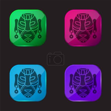 Illustration pour Masque africain icône bouton en verre quatre couleurs - image libre de droit