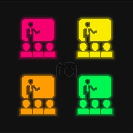 Illustration pour Auditoire dans la présentation de l'icône vectorielle néon rayonnante d'affaires quatre couleurs - image libre de droit
