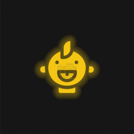 Baby yellow glowing neon icon