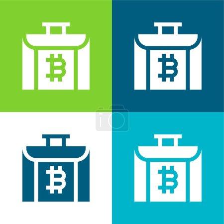 Illustration pour Porte-documents Ensemble d'icônes minimal plat à quatre couleurs - image libre de droit