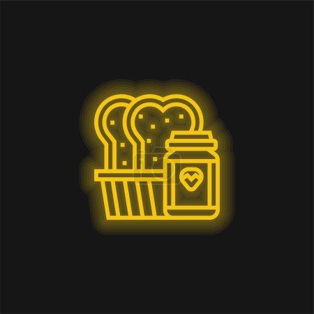 Illustration pour Pain jaune brillant icône néon - image libre de droit