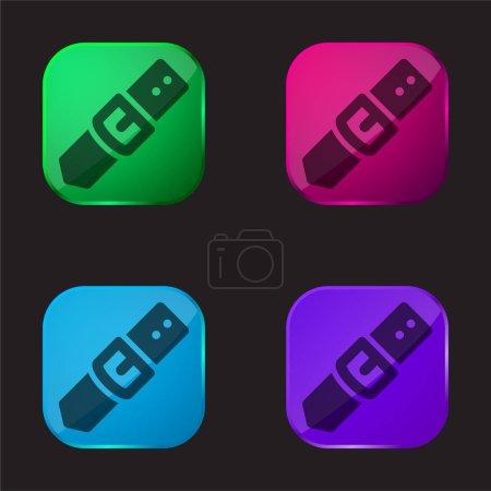 Illustration pour Bouton de ceinture et boucle icône de bouton en verre quatre couleurs - image libre de droit