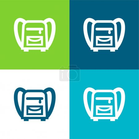 Illustration for Back Bag For School Flat four color minimal icon set - Royalty Free Image