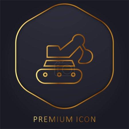 Illustration pour Rétrocaveuse ligne d'or logo premium ou icône - image libre de droit