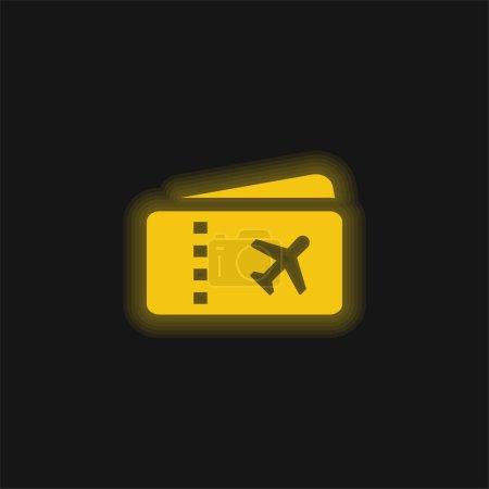 Photo pour Billet d'avion jaune brillant icône néon - image libre de droit