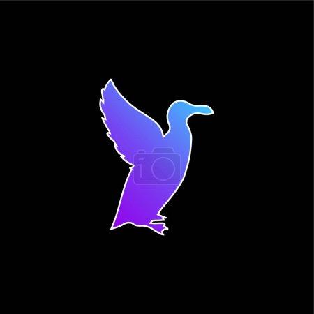 Illustration pour Icône vectorielle de dégradé bleu en forme d'pingouin - image libre de droit