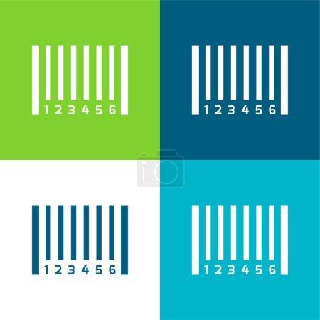 Illustration pour Code à barres Ensemble d'icônes minimal plat à quatre couleurs - image libre de droit