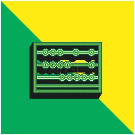 Illustration pour Abacus Logo vectoriel 3D moderne vert et jaune - image libre de droit