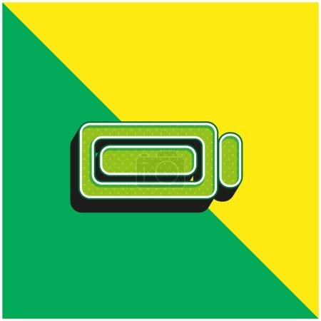 Illustration pour Chargement complet de la batterie Logo vectoriel 3D moderne vert et jaune - image libre de droit