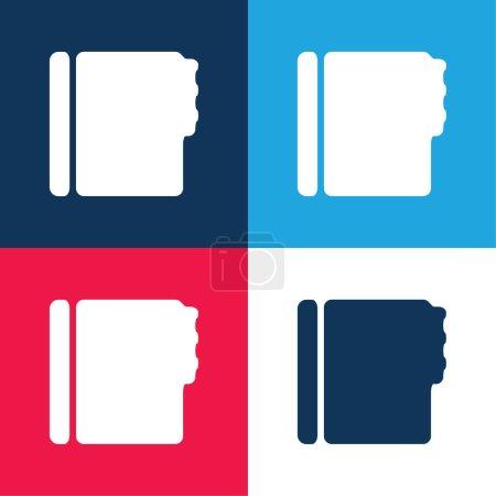 Illustration pour Carnet d'adresses Forme noire bleu et rouge quatre couleurs minimum jeu d'icônes - image libre de droit
