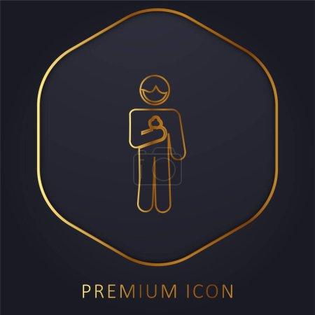 Illustration pour Garçon avec cône de crème glacée en ligne d'or logo premium ou icône - image libre de droit