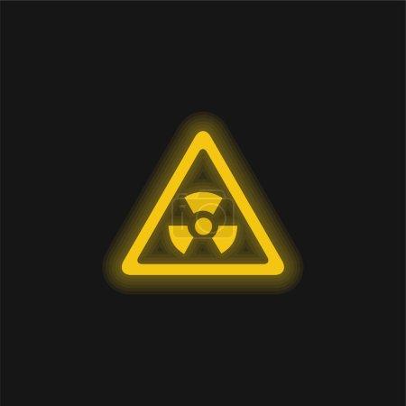 Illustration pour Risque biologique Signal triangulaire jaune néon brillant icône - image libre de droit