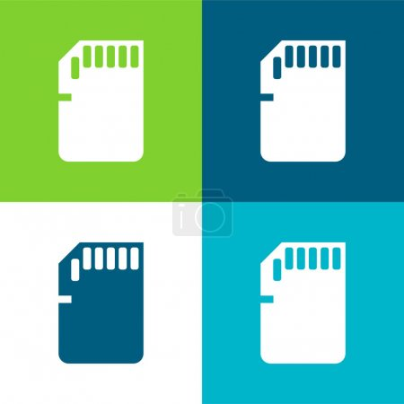 Illustration pour Big SD Card Ensemble d'icônes minime plat quatre couleurs - image libre de droit