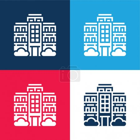 Illustration for Apartment blue and red four color minimal icon set - Royalty Free Image