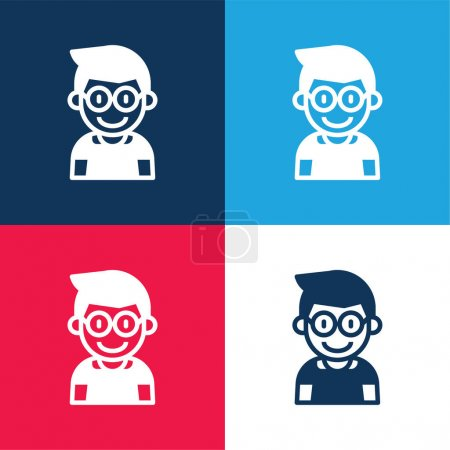 Boy blue and red four color minimal icon set