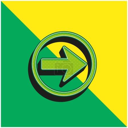 Illustration pour Flèche vers la droite Navigation Logo vectoriel 3d moderne vert et jaune - image libre de droit