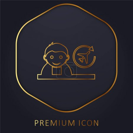 Boy golden line premium logo or icon