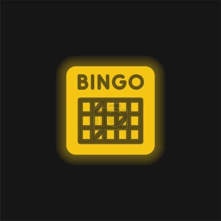 Illustration pour Icône néon jaune bingo - image libre de droit