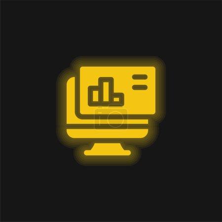 Illustration pour Analyse icône jaune néon brillant - image libre de droit