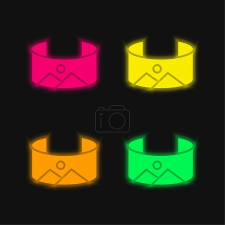 Illustration for 360 Image four color glowing neon vector icon - Royalty Free Image