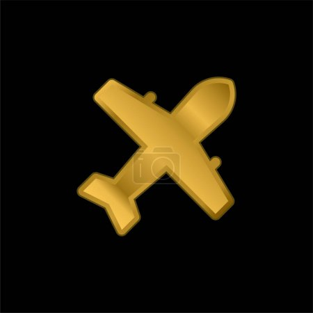 Illustration for Airplane gold plated metalic icon or logo vector - Royalty Free Image