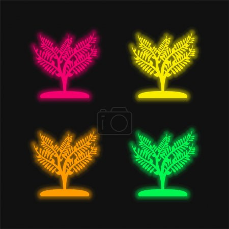 Illustration pour Grande plante comme un petit arbre quatre couleurs brillant néon vecteur icône - image libre de droit