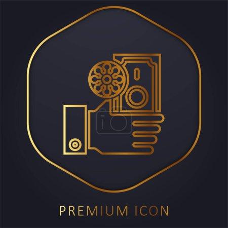 Illustration pour Billet ligne dorée logo premium ou icône - image libre de droit