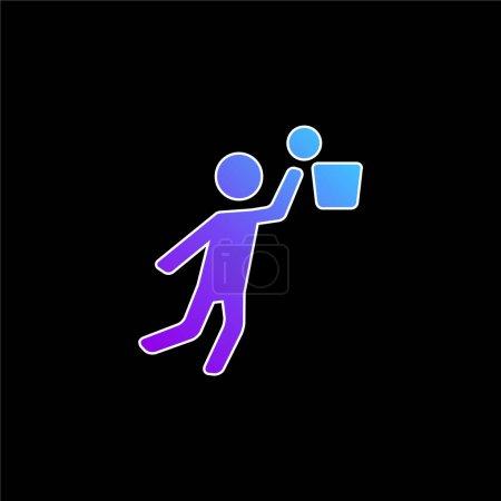 Joueur de basket-ball Saut et balle bleu dégradé icône vectorielle
