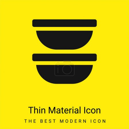 Illustration for Bowl minimal bright yellow material icon - Royalty Free Image