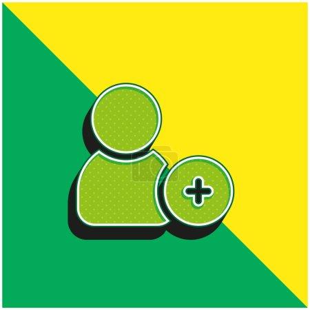 Illustration pour Ajoutez un ami Logo vectoriel 3d moderne vert et jaune - image libre de droit