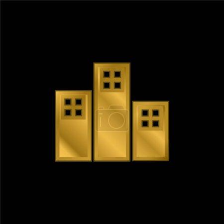 Photo pour Appartements Bâtiments icône métallique plaqué or ou logo vecteur - image libre de droit