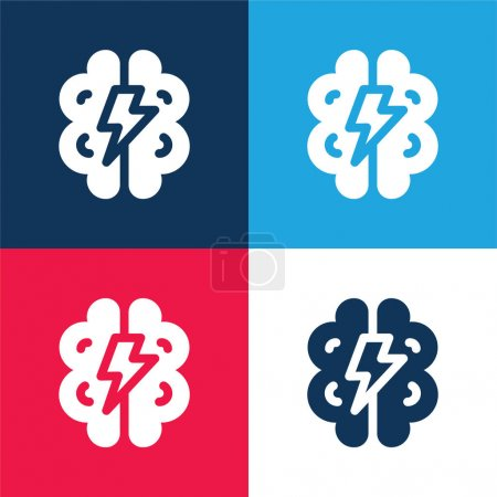 Brainstorming blue and red four color minimal icon set
