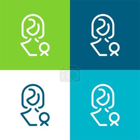Illustration pour Décerné Lady Flat quatre couleurs ensemble d'icône minimale - image libre de droit