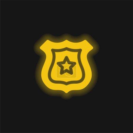 Illustration pour Badge jaune brillant icône néon - image libre de droit